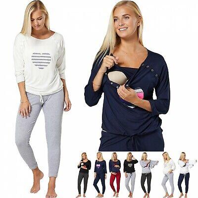 ZETA VILLE Women's Maternity Nursing Pyjamas Sleepwear Set Top Capri Pants 1016 Capri Nursing Pants