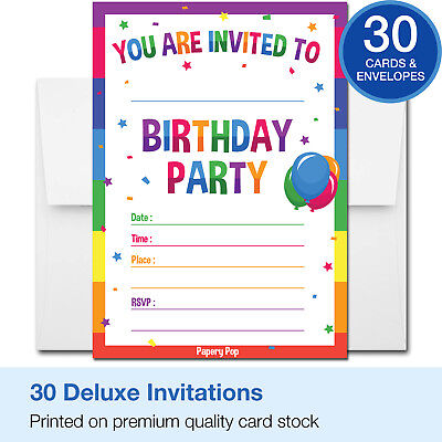 30 Birthday Invitations with Envelopes - Kid Birthday Party Invitations Boy - Girl Birthday Invitations
