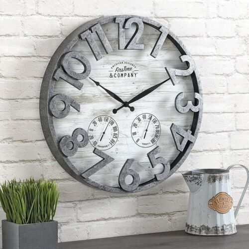 Large Rustic Wall Clock Farmhouse Porch Outdoor Patio Home Decor Gray Round 18in