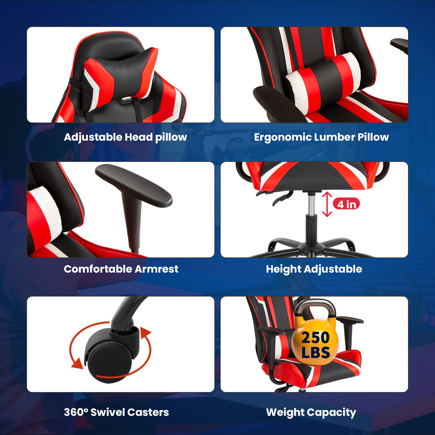 Gaming Chair Racing Desk Chair Ergonomic Office Chair Executive High Back Business & Industrial