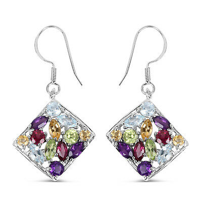925 Sterling Silver 6.26ct Genuine Multi Gemstone Dangle Drop Fish Hook Earrings