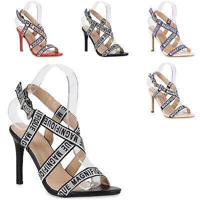 Damen Riemchensandaletten Stiletto High Heel Sandaletten 826202 Trendy Neu Stiletto High Heel
