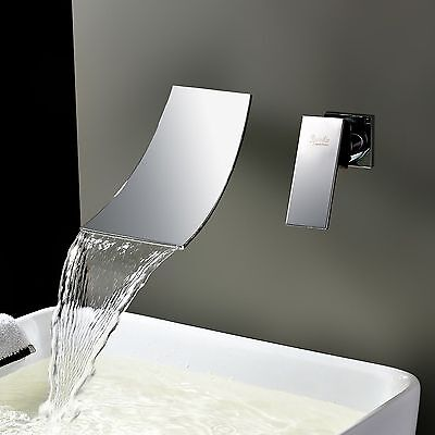 Bathroom Waterfall Spout Sink Mixer Tap Wall Mount Widespread Basin Tub Faucet