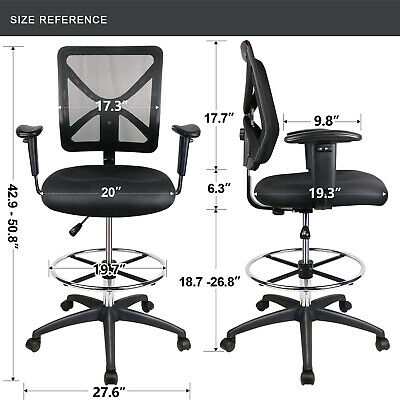 Mesh Drafting Chair Mid-back Adjustable Office Chair With Wheels With Footring