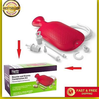 Home Enema Douche Kit Hot Water Bottle Bag 2 Quart Capacity Reusable Red New