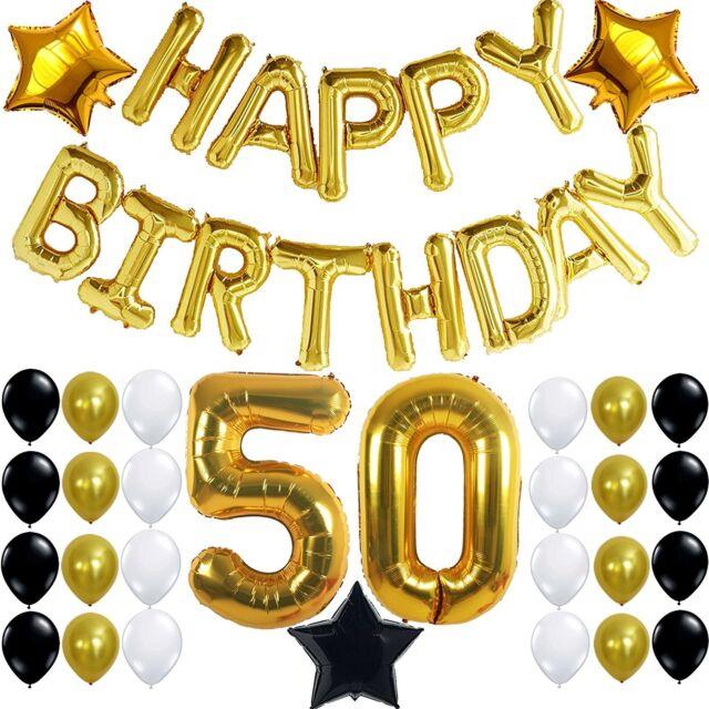 50th birthday party decorations kit happy birthday foil balloons 50 number 50 - 50th Birthday Party Decorations