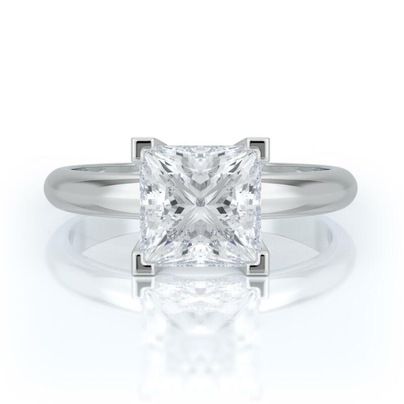 4 Carat F Vs2 Princess Cut Diamond Solitaire Engagement Ring 14k White Gold