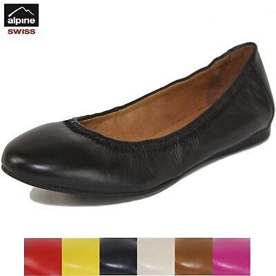 Alpine Swiss Women's Shoes Ballet Flats Genuine European Leather Comfort Loafer