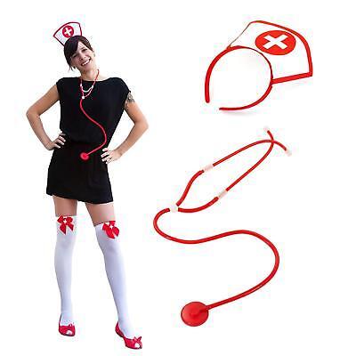 Sexy Krankenschwester Kostüm Accessoires - Haarreifen + Strumpfhose + - Krankenschwester Kostüm Accessoires