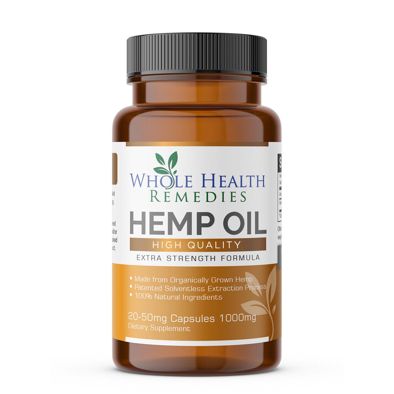 100% Pure Hemp Oil Capsules for Sleep, Anxiety & Pain Relief
