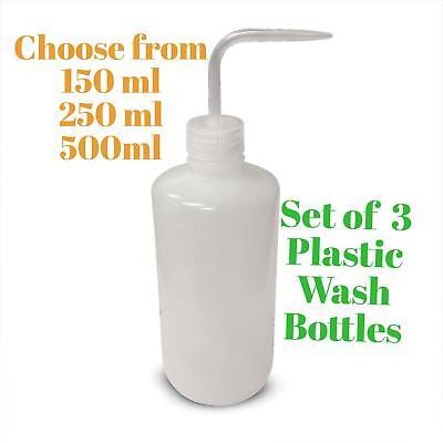 3 Plastic Squeeze Wash Bottles W Spout Tattoo Soap Lab Bottle 150ml 250ml 500ml
