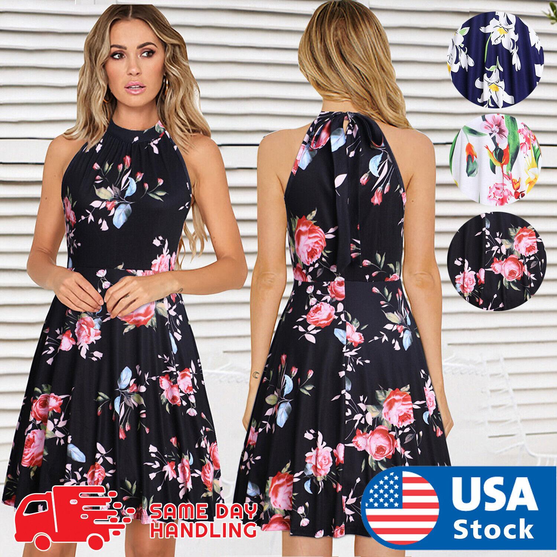 Womens Holiday Sleeveless Ladies Slim Short Maxi Summer Print Beach Mini Dress Clothing, Shoes & Accessories