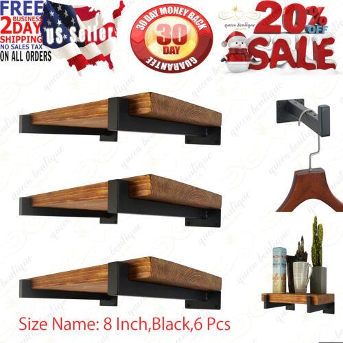 6 Pcs Floating Shelf Brackets 8 Inch Heavy Duty Wall Mounted Industrial Metal