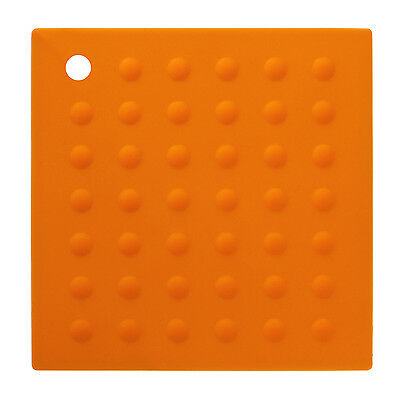 ZING ORANGE SILICONE SQUARE HEAT RESISTANT KITCHEN DINING TRIVET HOT POT STAND