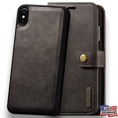 Max Leather - For iPhone XS MAX XR Leather Removable Wallet Magnetic Flip Card Case Cover