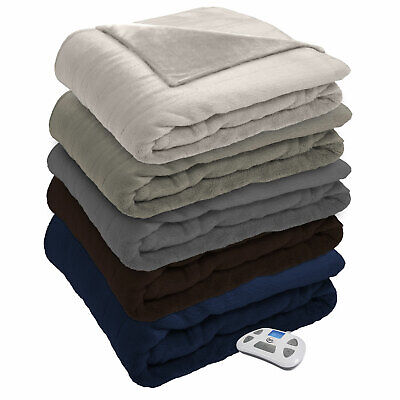 silky plush electric heated warming blanket digital