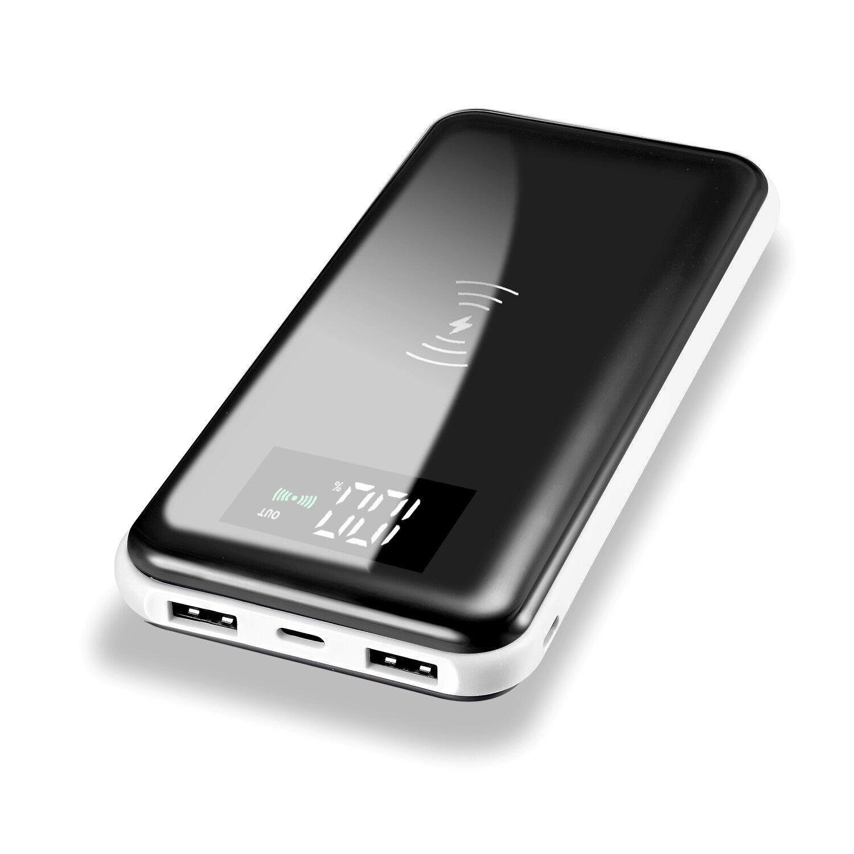 NEW 500000mAh Power Bank Qi Wireless Charging 2 USB LED Port
