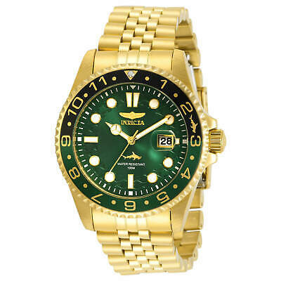 Invicta Men's Watch Pro Diver Black and Green Bezel Yellow Gold Bracelet 30623