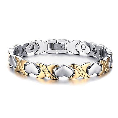 Women's Stainless Steel Silver Gold Tone Cuff Bangle Love Heart Charm Bracelet