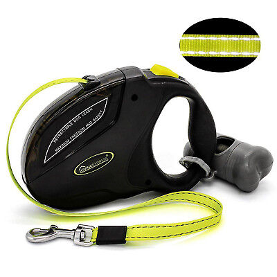 Retractable Dog Leash 16Ft Medium Large Dogs up to 110 lbs Reflective Tape Black