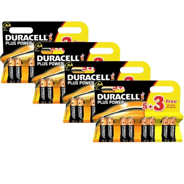 Duracell Plus Power Double AA Alkaline Batteries 5 + 3 Free EXP 2025 New