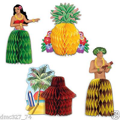 4 LUAU Tiki Beach Hawaiian Party MINI Table Decorations Tropical Playmates - Beach Party Decor