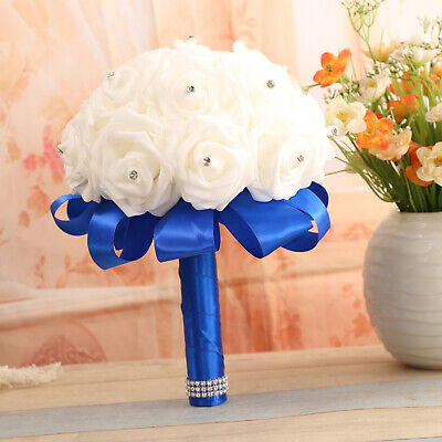 White Rose Flower Wedding Bouquet for Bridesmaid-Foam Rose with Rhinestone -