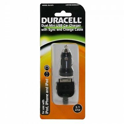 Duracell Dual USB Car DC Charger 2.1Amp With 30-Pin Cable - DU1575 for sale  Shipping to India