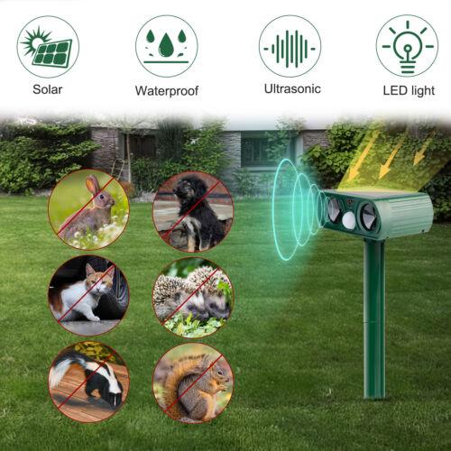 Solar Ultrasonic Animal Repeller, Outdoor Repellent for Cats Dogs Bird Mice Pest