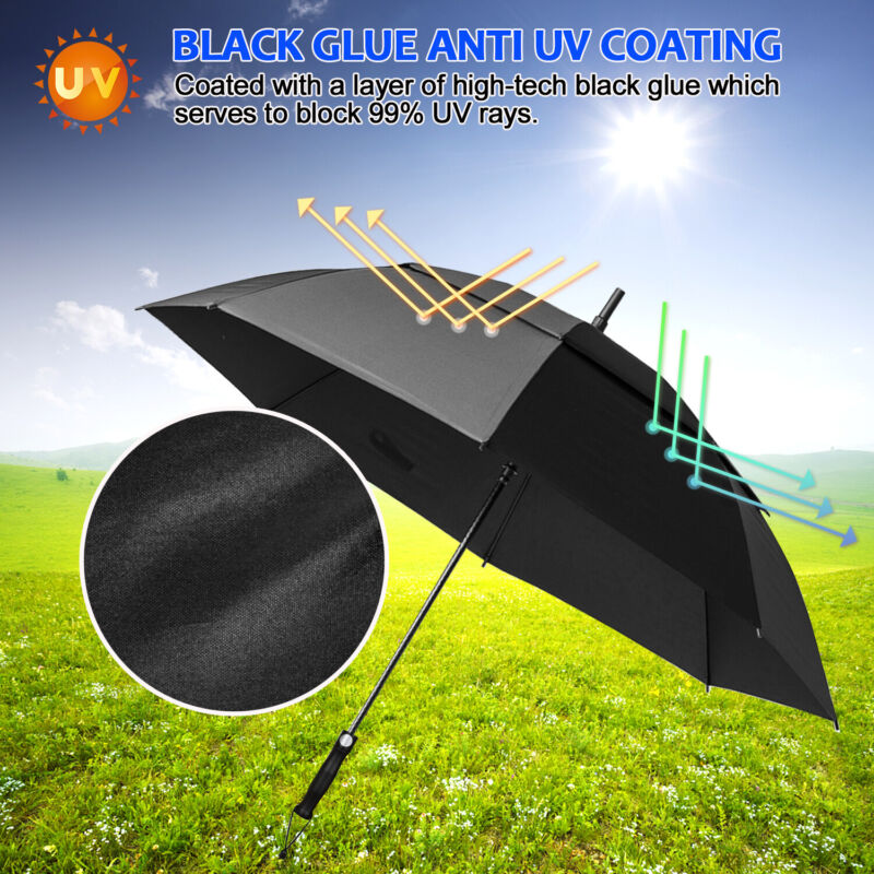 68 In Automatic Open Golf Umbrella Oversized Vented Double Canopy Sun-Resistant