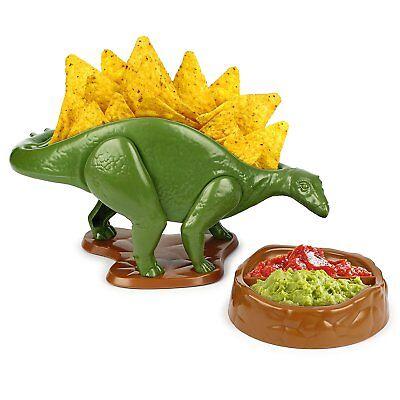 (NACHOsaurus Dip and Snack Dish Set Stegosaurus Dinosaur Serving Bowl Nacho Plate)