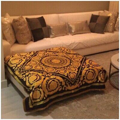 Custom Made  baroque gold black velvet Versace printed throw with gold fridge