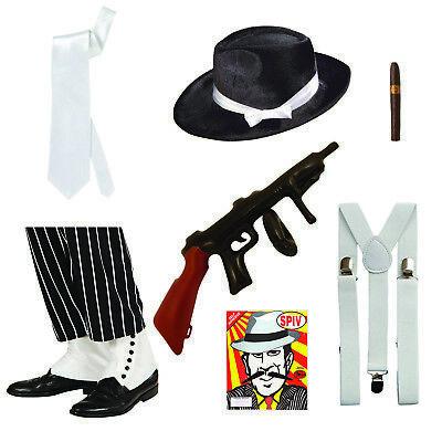GANGSTER 7PC KIT HAT CIGAR SPATS BRACES TIE SPIV TASH INFLATABLE TOMMY GUN MENS