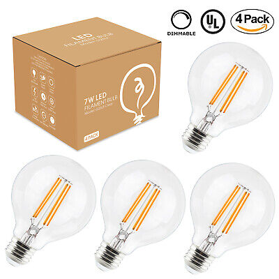 4pcs G25 7W Edison Led Bulb Globe Light Dimmable 80W Equivalent 2700k Warm White - Globe Light Bulb