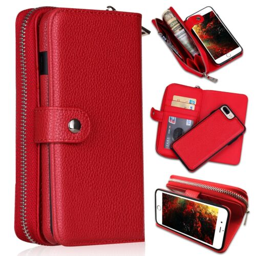 Detachable Magnetic Leather Wallet Purse Case for iPhone Xs