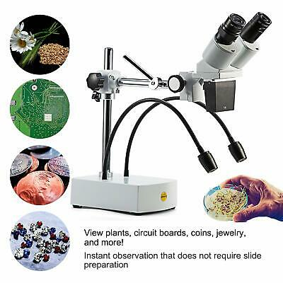 Swift 20x Led Binocular Stereo Microscope Boom Arm Stand Dual Goose-neck Light