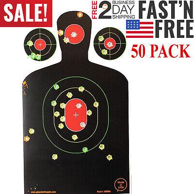 Shooting Targets Reactive Splatter Range Paper Target Gun Shoot Rifle 50PK Glow