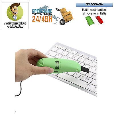 Usato, MINI ASPIRAPOLVERE USB TASTIERE PER PULIZIA COMPUTER ASPIRA POLVERE PORTATILE PC usato  Napoli