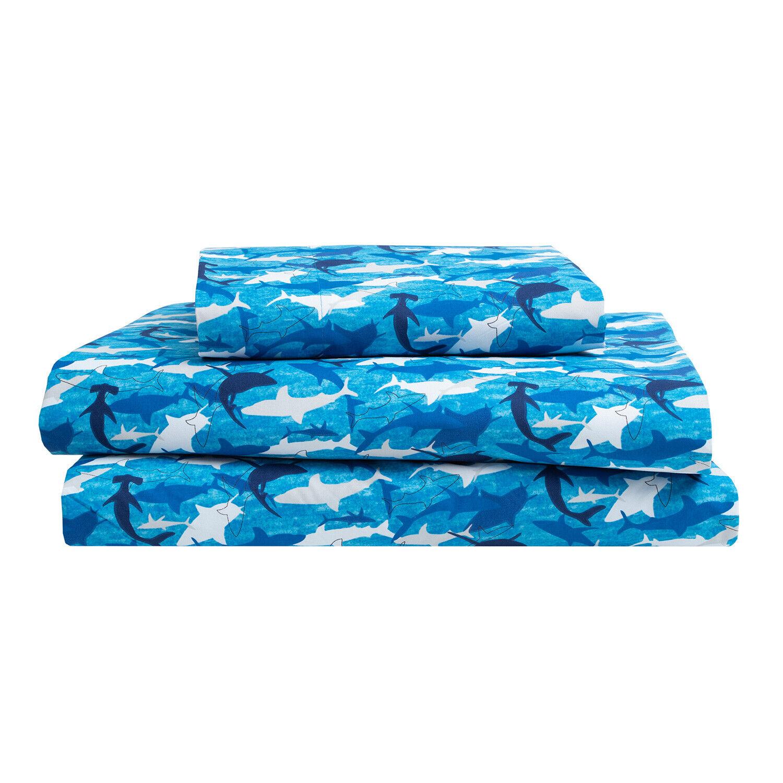 Twin, Full or Queen Sharks Ocean Microfiber Bed Sheet Bedding, Blue Grey White Bedding