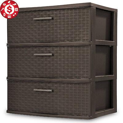 3 Drawer Wide Storage Cabinet Large Plastic Chest  Box Bin Home Office Organizer