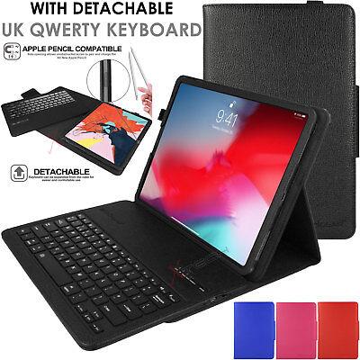 "New Apple iPad Pro 12.9"" 2018 Bluetooth UK Keyboard Leather Smart Case & Stand"
