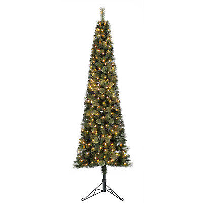 Home Heritage Cashmere 7ft Artificial Corner Christmas Tree w/ LED Lights (Used) ()