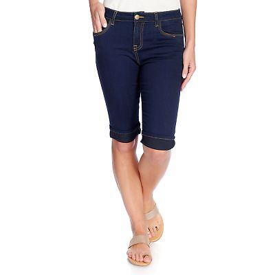 NEW One World Stretch Woven Five-Pocket Cuffed Slim Leg Bermuda Shorts Bermuda Five Pocket Shorts