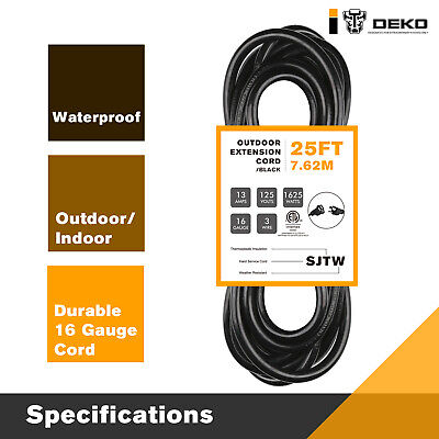 DEKO 25Ft Electric Extension Cord Heavy Duty 16 Gauge 3 Wire Grounded