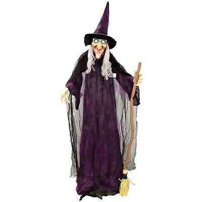 Halloween Haunters 6ft Animated Wicked Witch Broomstick Speaking Prop Decoration](Halloween Hlw)