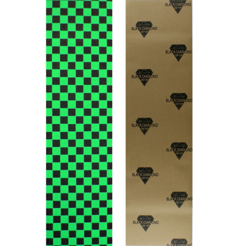 Black Diamond Skateboard Grip Tape Sheet Green Checker
