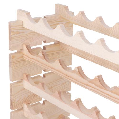 96 Bottles Holder Wine Rack Stackable Storage Solid Wood Display Shelves 8 Tier Bar Tools & Accessories