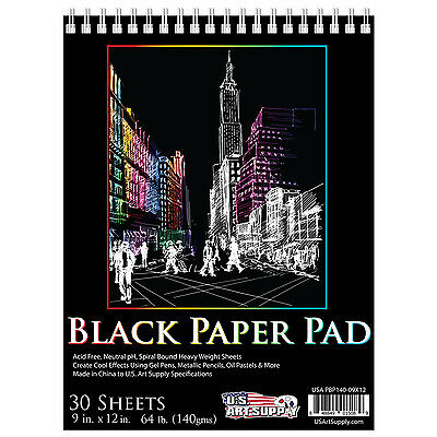 "9""x12"" Premium Black Heavyweight Paper Spiral Bound Sketch Pad,140gsm,30 Sheets"