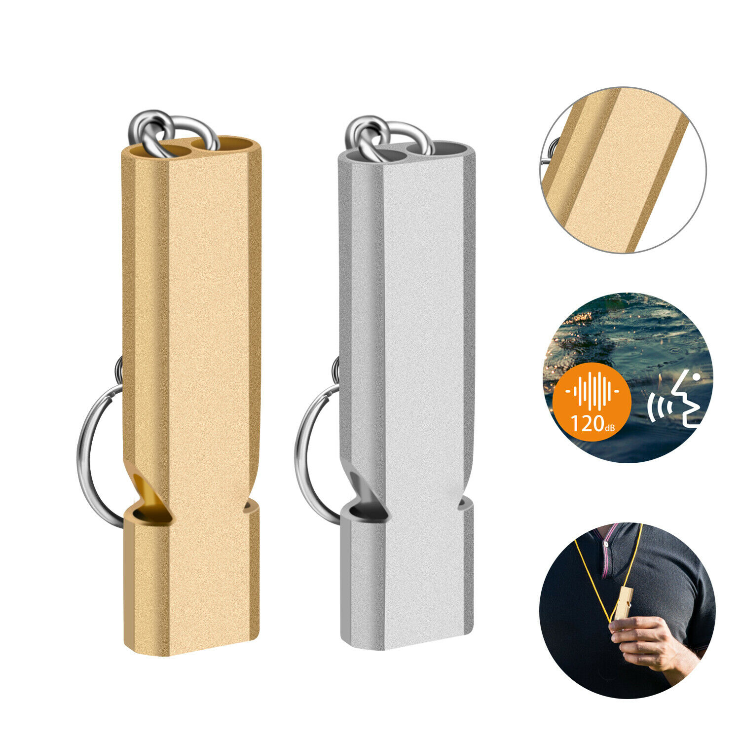 120db Aluminum Loud Emergency Survival SOS Whistle Camping Hiking Key Outdoor US Camping & Hiking