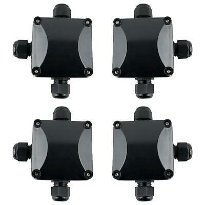 Gwhole 4pcs Waterproof Ip66 Outdoor 3 Way Electric Junction Project Box Black